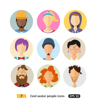 Male and female  avatars icons  flat cool modern style vector set