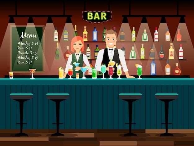 Male and female bartenders