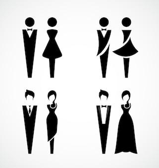 Male and female black icon set design