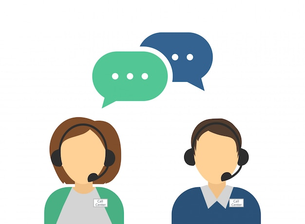 Male and female call center avatars. costumer support service.