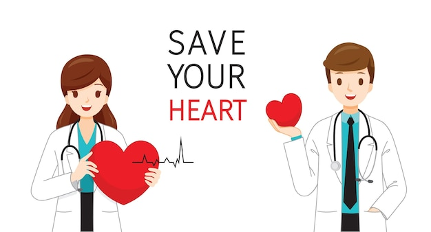 Male and female cardiologists with hearts in hands and save your heart texts