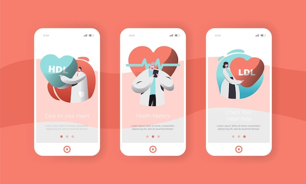 Male and female cardiology doctor or health care worker mobile app page onboard screen set.