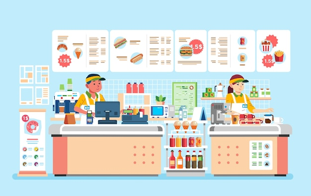 Male and female cashier at fast food restaurant with hamburger, doughnout, hotdog, and many beverages  illustration. used for website image, poster, banner and other
