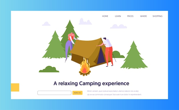 Male and female character collect tent near bonfire in forest landing page. nature summer outdoor travel concept. people active rest website or web page. flat cartoon vector illustration