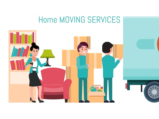 Male female character invocation moving service new house, man loader help removal stuff isolated on white,   illustration.