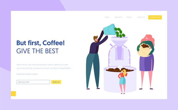 Male and female character make roasting green coffee bean in metal tank landing page. coffee production technology. cafeteria concept website or web page. flat cartoon vector illustration