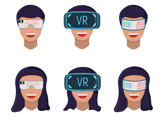 Male and female character in virtual reality glasses, modern technology augmented reality isolated