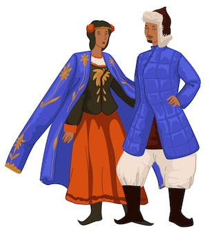 Male and female character wearing clothes and accessories of golden horde period