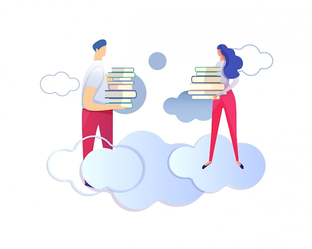 Male and female characters holding heaps of books.