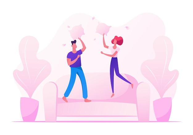 Male and female characters jumping on sofa fighting with pillows