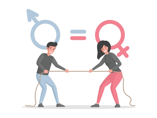 Male and female characters pulling rope against each other vector