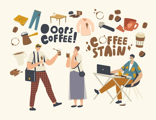 Male or female characters spill coffee on their clothes and laptop making stains. clumsiness, accident on street or office. businessman in trouble with drink splash. cartoon people vector illustration