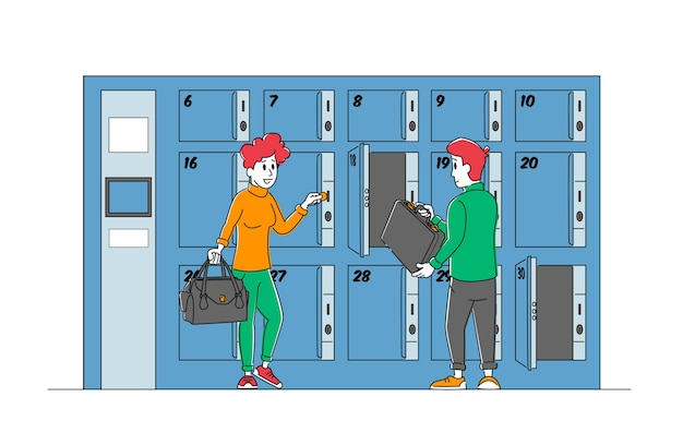 Male and female characters use luggage keeping service put bags into paid numbered lockers