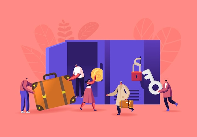 Male and female characters use luggage storage service put bags into lockers in airport or supermarket. people travelers with suitcases in place for keeping baggage. cartoon people vector illustration