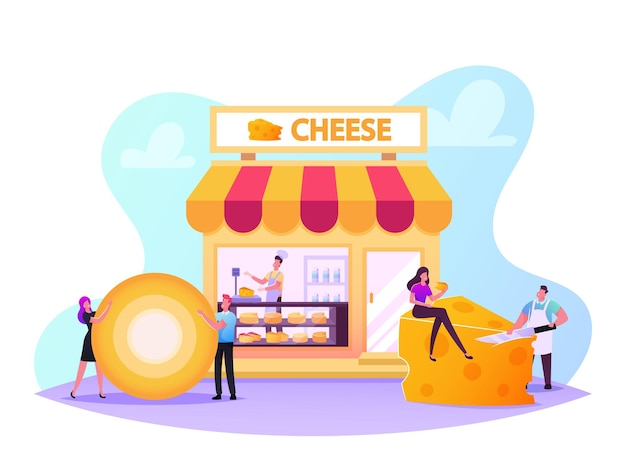 Male and female characters visiting cheese shop, seller weigh and presenting products for customer in store with varieties of production on shelves, degustation. cartoon people vector illustration
