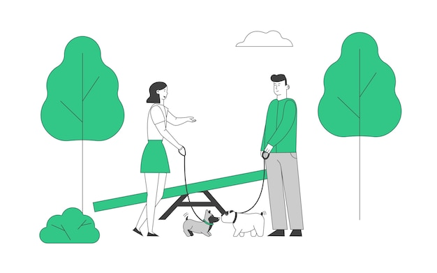 Male and female characters walking with dogs in public city park or home yard.