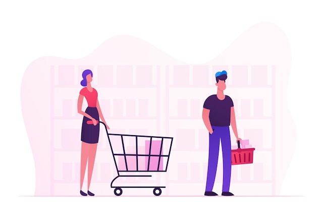 Male and female characters with shopping baskets standing in line at shop