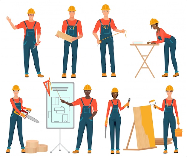 Male and female construction team