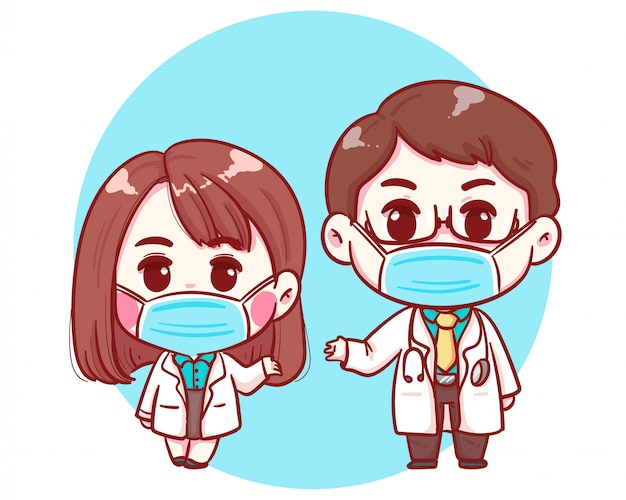 Male and female cute doctor characters in cartoon style illustration