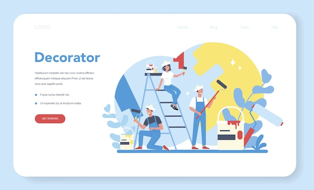Male and female decorator painter in the uniform paint the wall with paint roller web banner or landing page