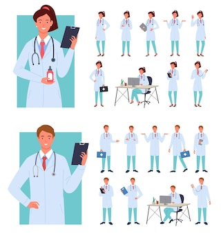 Male female doctors poses illustration infographic set.