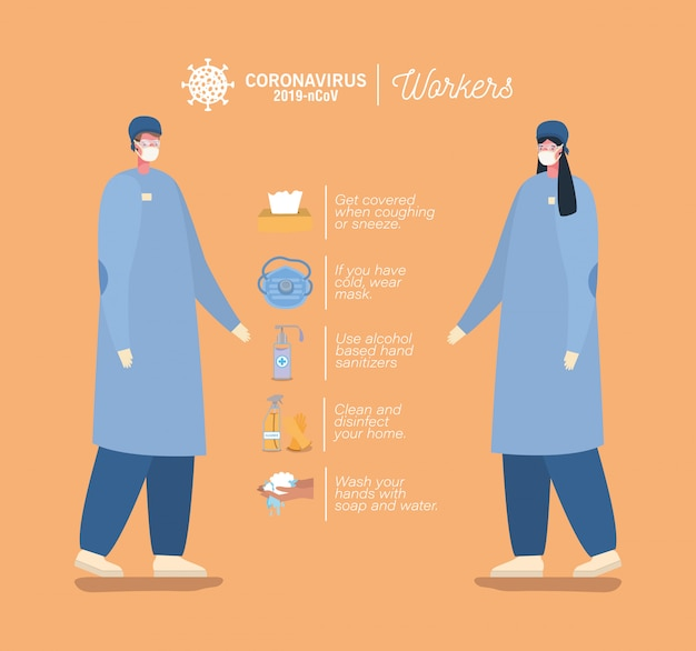 Male and female doctors with masks and prevention tips design