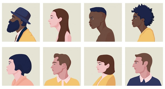 Male and female faces in profile with various hairstyles