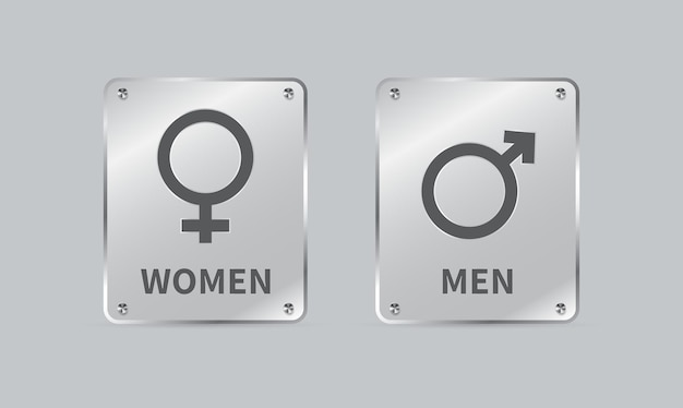 Male and female gender sign glass plates square shape isolated on gray background