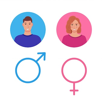 Male and female, gentleman and lady toilet sign