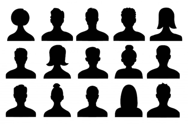 Male and female head silhouettes avatar of person, profile icons.  illustration