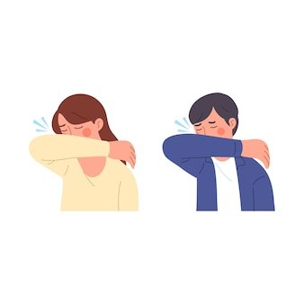 Male and female illustration characters when sneezing trying to cover their mouths with their arms