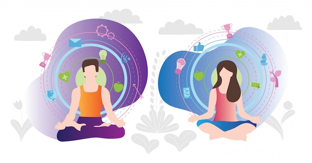 Male and female meditating relaxation