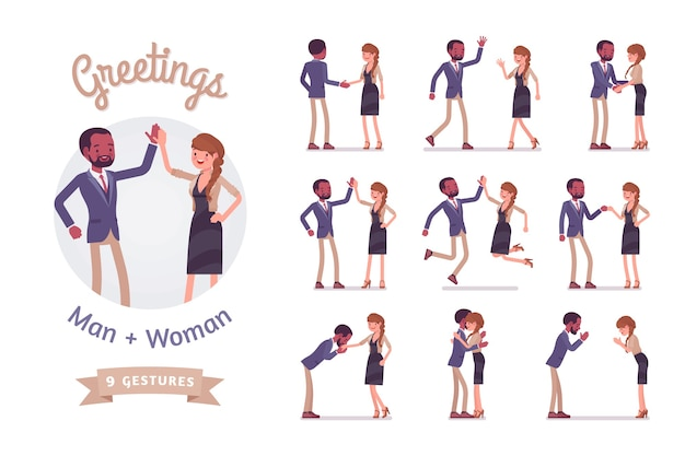 Male, female multicultural greeting set