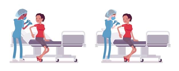 医療処置、注射で男性、女性看護師