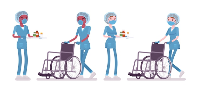Male, female nurse doing medical procedure, pushing wheelchair