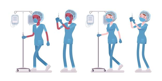 スポイトで医療処置を行う男性、女性の看護師。病院の制服を着た若年労働者が診療所で勤務。医学、ヘルスケア。スタイル漫画イラスト、白い背景
