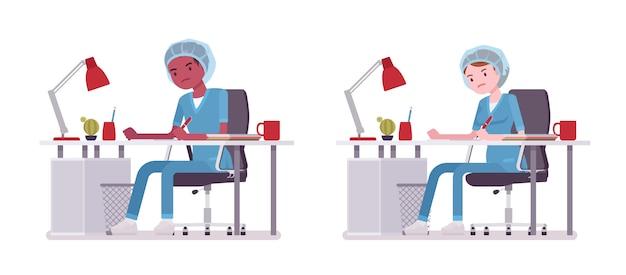 事務処理を行う男性、女性の看護師。病院の制服を着た若い労働者、疲れて仕事で疲れきっています。医学とヘルスケアの概念。白い背景の上のスタイル漫画イラスト