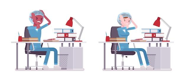 Male, female nurse in negative emotions at the desk