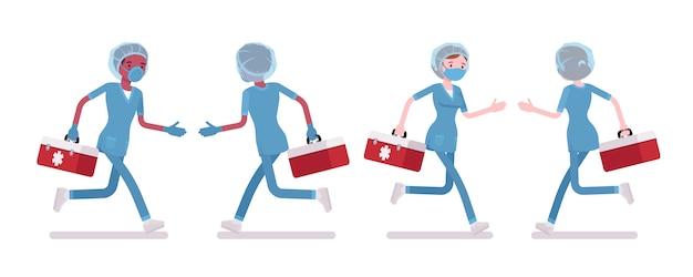 実行している男性、女性の看護師