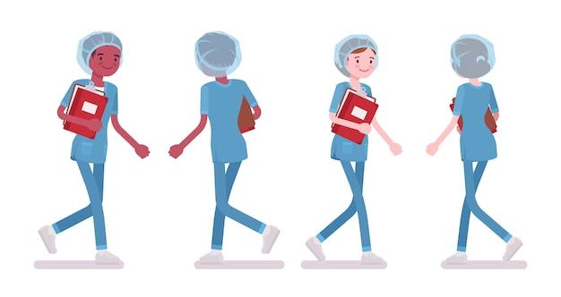 歩く男性、女性看護師。病院の制服を着た若い労働者が診療所で雇われ、仕事で忙しい。医学、ヘルスケアの概念。スタイル漫画イラスト、白い背景