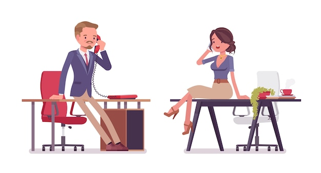 Male and female office secretary phone talking