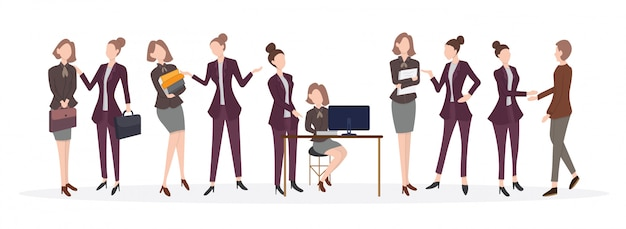 Male and female office workers