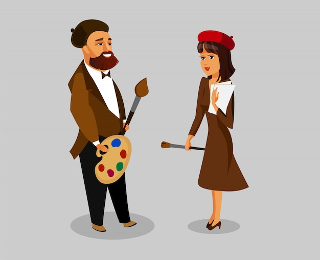 Male, female painters vector illustration set.