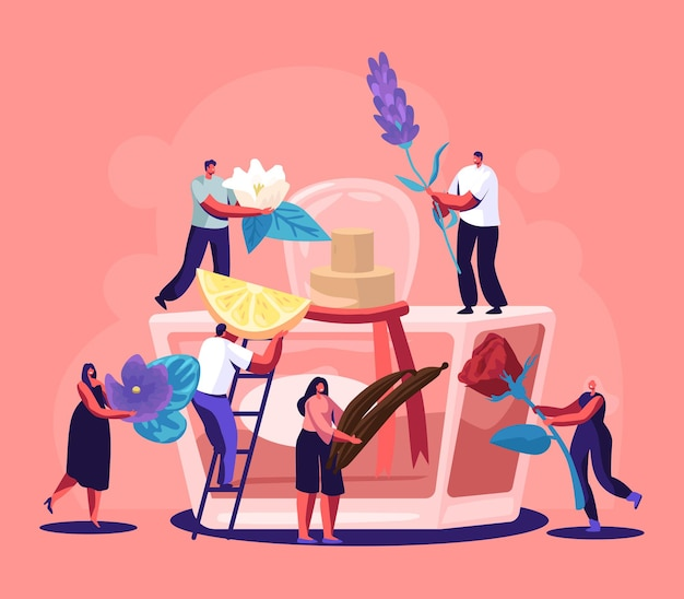 Male and female perfumer characters create new perfume fragrance illustration