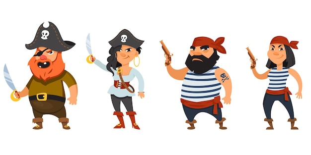 Male and female pirates holding weapons. funny characters in cartoon style.