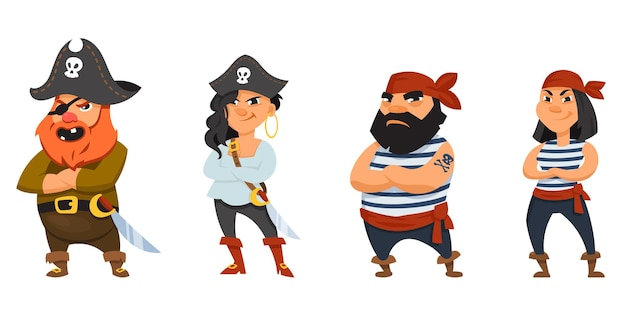 Male and female pirates with crossed arms