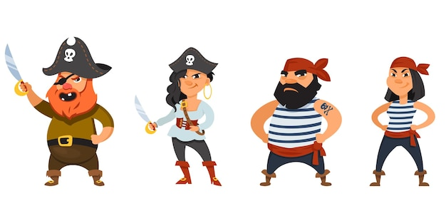 Male and female pirates with hands on belt. funny characters in cartoon style.