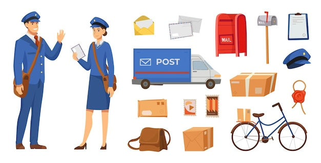 Male and female postman characters illustrations set