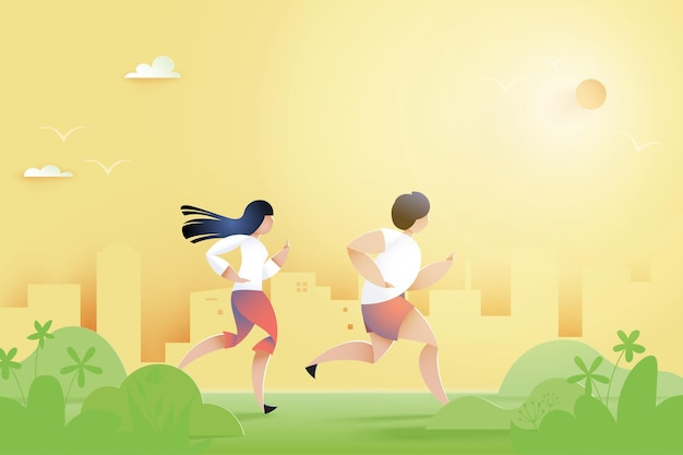 Male and female running on pathway in city park