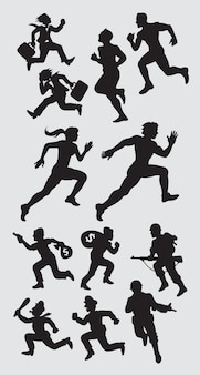 Male and female running silhouette